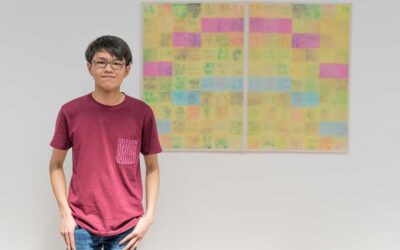 Graduate Lachlan Hui creates melted rainbow artwork using sticky notes to remember lockdown